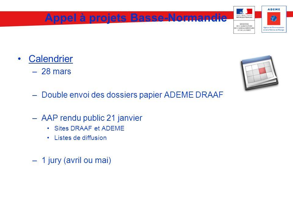 Calendrier –28 mars –Double envoi des dossiers papier ADEME DRAAF –AAP rendu public 21 janvier Sites DRAAF et ADEME Listes de diffusion –1 jury (avril