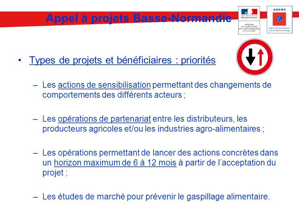 Types de projets et bénéficiaires : priorités –Les actions de sensibilisation permettant des changements de comportements des différents acteurs ; –Le
