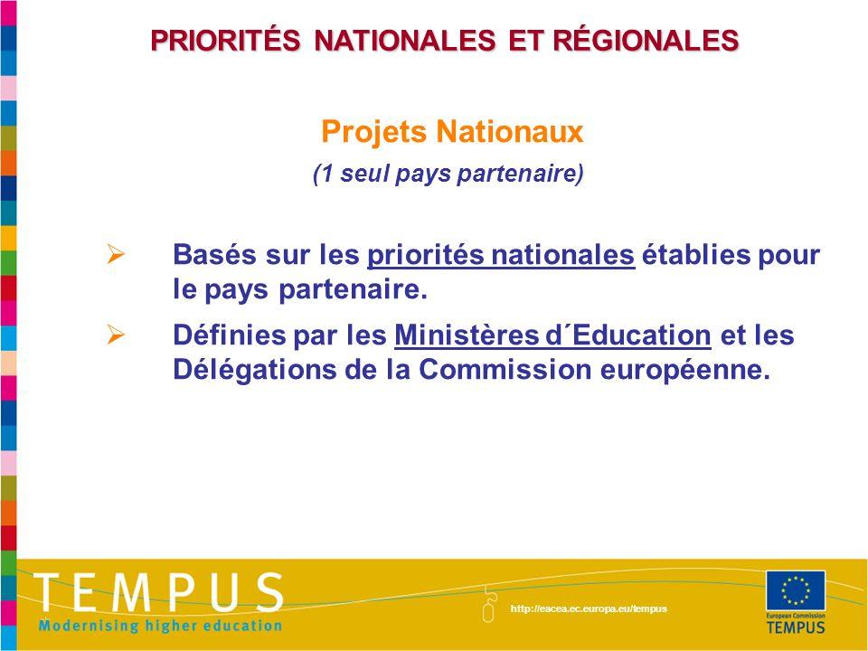 PRIORITÉS NATIONALES ET RÉGIONALES Projets Nationaux (1 seul pays partenaire) Basés sur les priorités nationales établies pour le pays partenaire. Déf