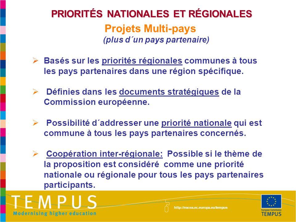 PRIORITÉS NATIONALES ET RÉGIONALES Projets Multi-pays (plus d´un pays partenaire) Basés sur les priorités régionales communes à tous les pays partenai