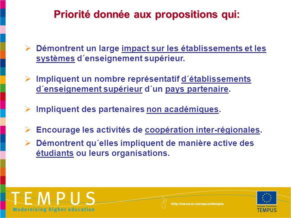 Priorité donnée aux propositions qui: Démontrent un large impact sur les établissements et les systèmes d´enseignement supérieur. Impliquent un nombre