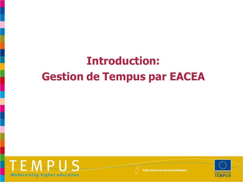 Introduction: Gestion de Tempus par EACEA http://eacea.ec.europa.eu/tempus