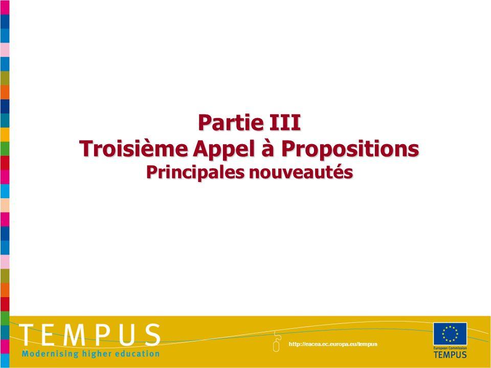 Partie III Troisième Appel à Propositions Principales nouveautés http://eacea.ec.europa.eu/tempus