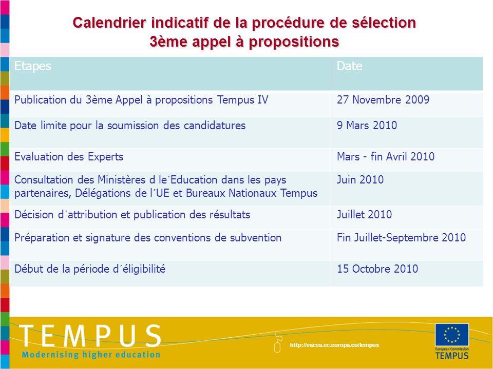 http://eacea.ec.europa.eu/tempus Calendrier indicatif de la procédure de sélection 3ème appel à propositions Etapes Date Publication du 3ème Appel à p