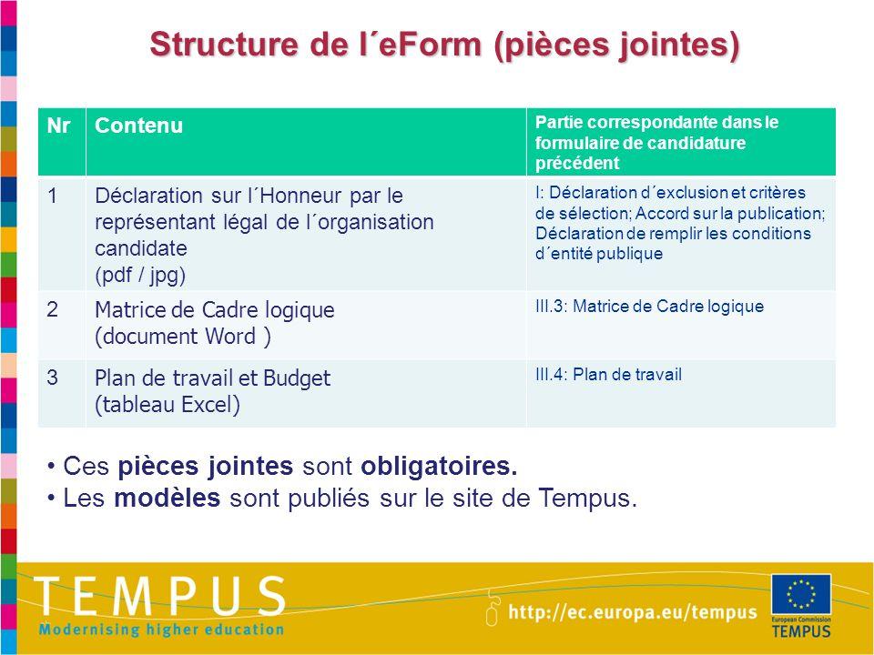 Structure de l´eForm (pièces jointes) NrContenu Partie correspondante dans le formulaire de candidature précédent 1Déclaration sur l´Honneur par le re