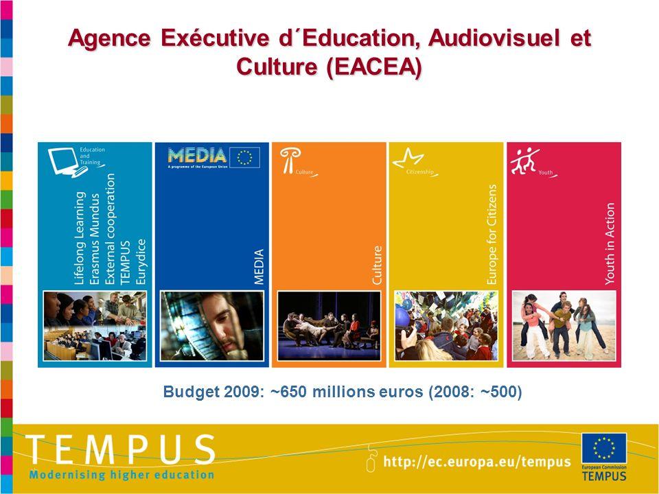 Agence Exécutive d´Education, Audiovisuel et Culture (EACEA) Budget 2009: ~650 millions euros (2008: ~500)