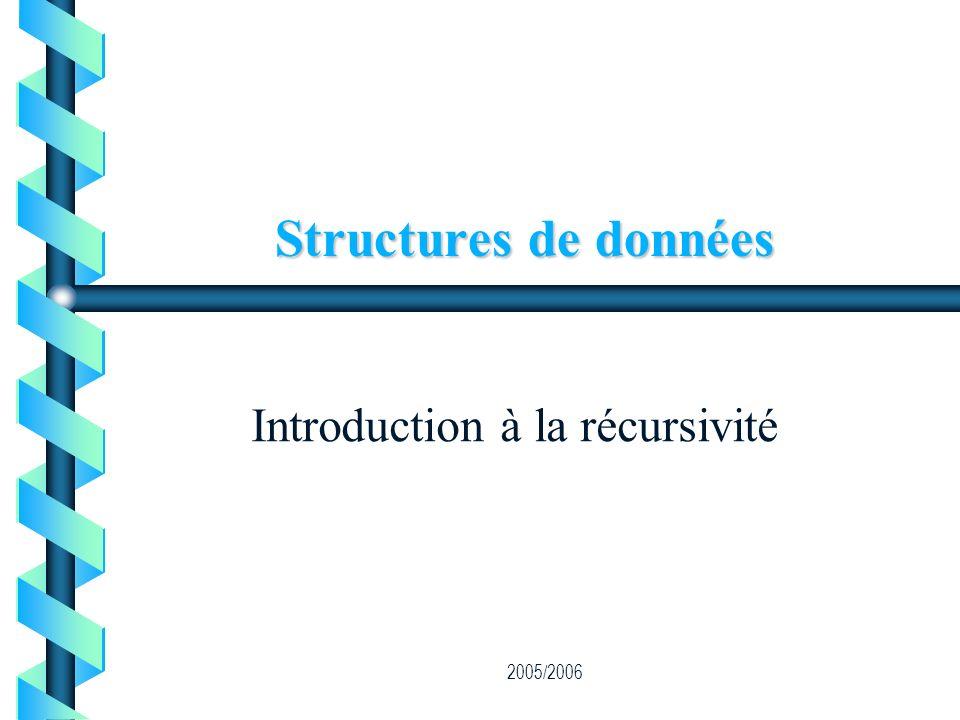 2005/2006 Structures de données Introduction à la récursivité