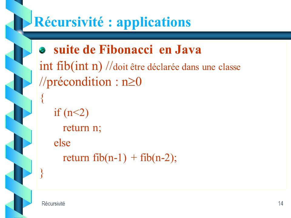 Récursivité14 Récursivité : applications suite de Fibonacci en Java int fib(int n) // doit être déclarée dans une classe //précondition : n 0 { if (n<