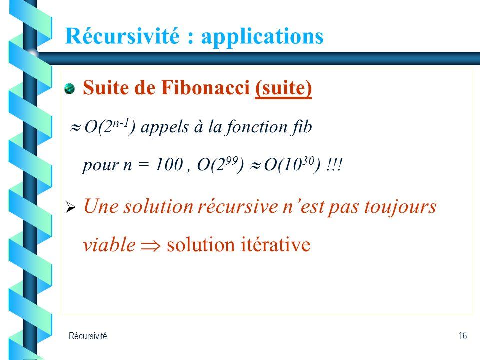 Récursivité16 Récursivité : applications Suite de Fibonacci (suite) O(2 n-1 ) appels à la fonction fib pour n = 100, O(2 99 ) O(10 30 ) !!! Une soluti