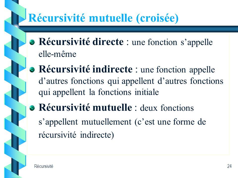 Récursivité24 Récursivité mutuelle (croisée) Récursivité directe : une fonction sappelle elle-même Récursivité indirecte : une fonction appelle dautre
