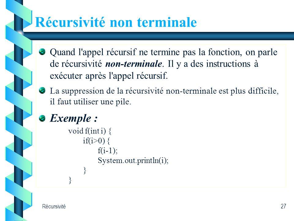 Récursivité27 Récursivité non terminale Quand l'appel récursif ne termine pas la fonction, on parle de récursivité non-terminale. Il y a des instructi