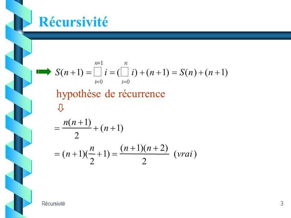 Récursivité3 00ii )( 2 )2)(1( )1 2 1( )1( 2 )1( vrai nnn n n nn )1()()1()()1( 1 nnSniinS nn hypothèse de récurrence