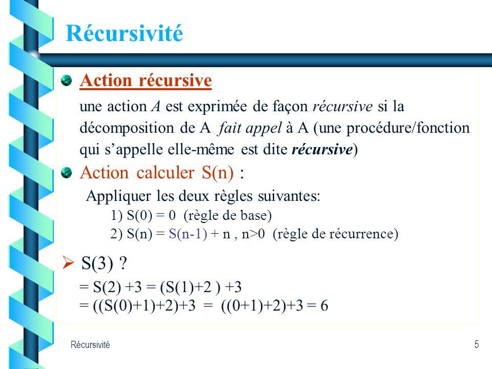 Récursivité5 Action récursive une action A est exprimée de façon récursive si la décomposition de A fait appel à A (une procédure/fonction qui sappell