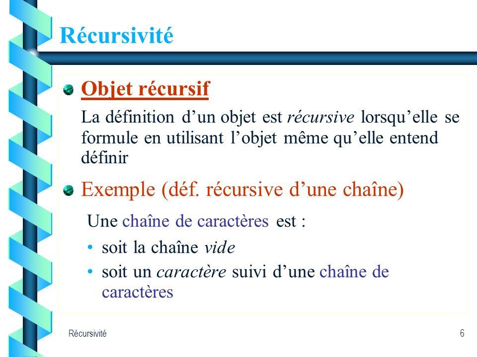 Récursivité6 Objet récursif La définition dun objet est récursive lorsquelle se formule en utilisant lobjet même quelle entend définir Exemple (déf. r