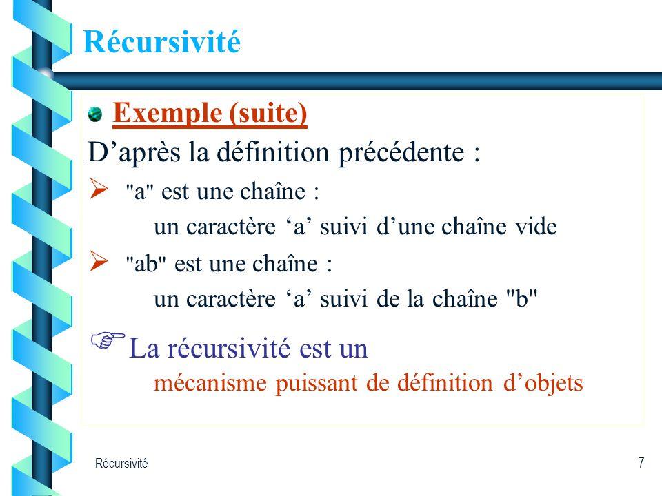 Récursivité7 Exemple (suite) Daprès la définition précédente :