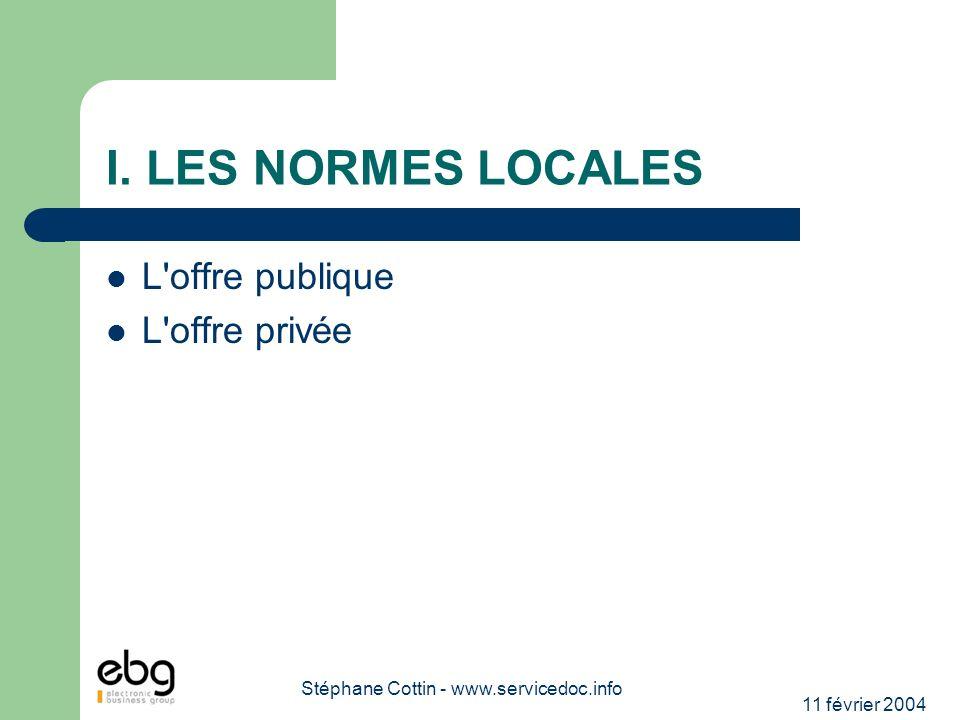 11 février 2004 Stéphane Cottin - www.servicedoc.info I. LES NORMES LOCALES L'offre publique L'offre privée