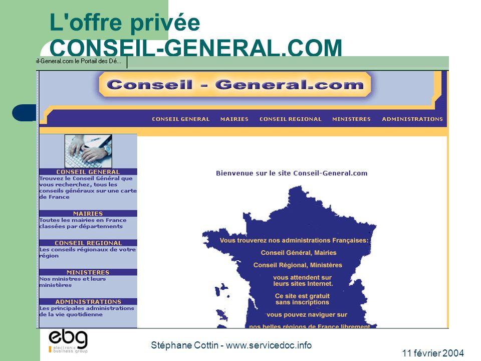 11 février 2004 Stéphane Cottin - www.servicedoc.info L offre privée CONSEIL-GENERAL.COM
