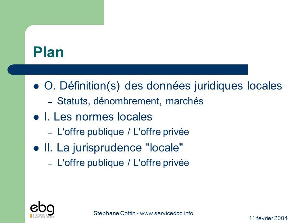 11 février 2004 Stéphane Cottin - www.servicedoc.info Plan O. Définition(s) des données juridiques locales – Statuts, dénombrement, marchés I. Les nor