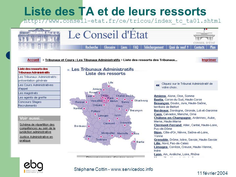 11 février 2004 Stéphane Cottin - www.servicedoc.info Liste des TA et de leurs ressorts http://www.conseil-etat.fr/ce/tricou/index_tc_ta01.shtml