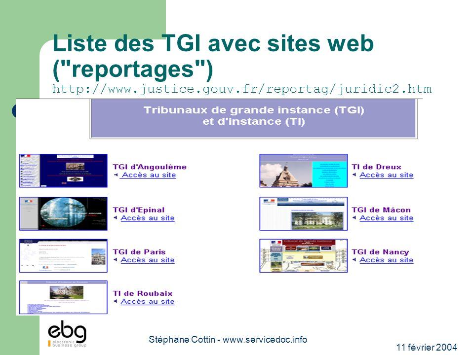 11 février 2004 Stéphane Cottin - www.servicedoc.info Liste des TGI avec sites web ( reportages ) http://www.justice.gouv.fr/reportag/juridic2.htm