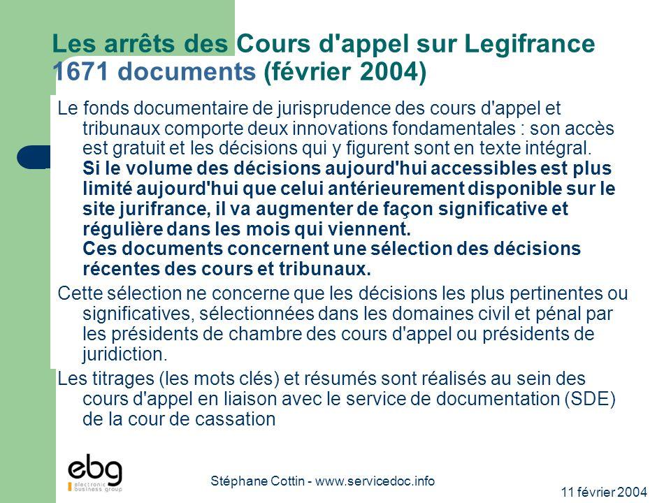 11 février 2004 Stéphane Cottin - www.servicedoc.info Les arrêts des Cours d'appel sur Legifrance 1671 documents (février 2004) Le fonds documentaire