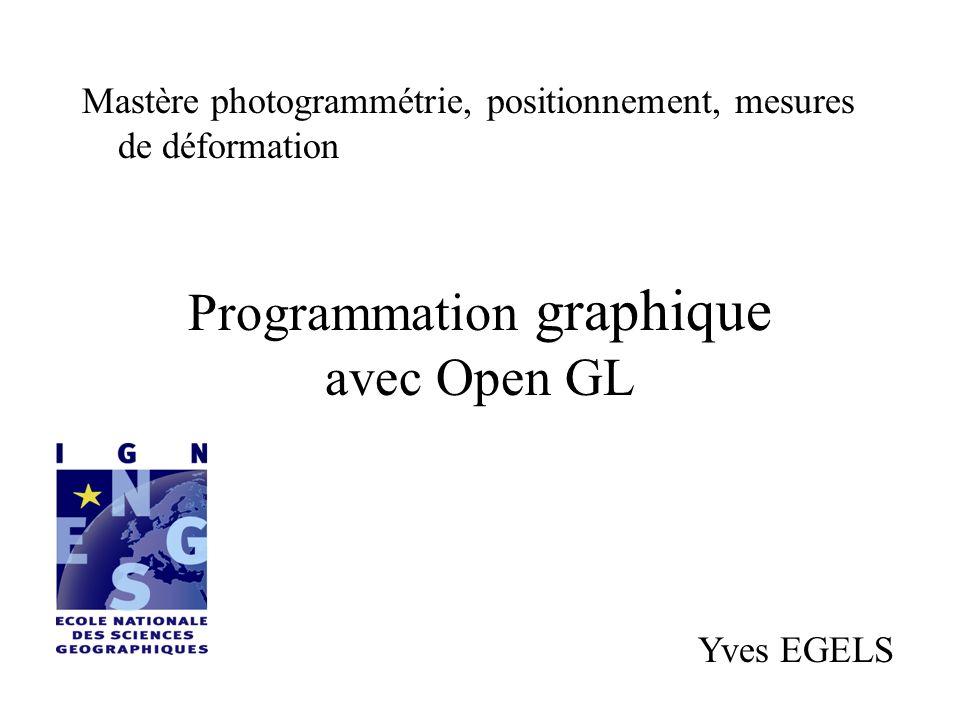 Open GL bibliothèque logicielle permettant la représentation graphique dobjets 3D (et éventuellement 2D).