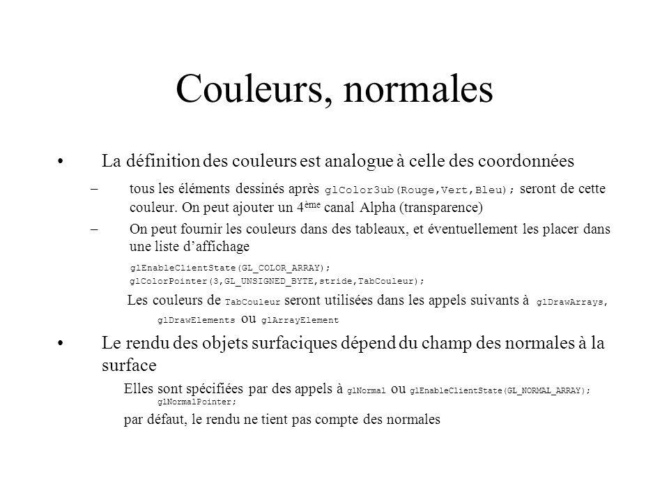 Couleurs, normales La définition des couleurs est analogue à celle des coordonnées –tous les éléments dessinés après glColor3ub(Rouge,Vert,Bleu); sero