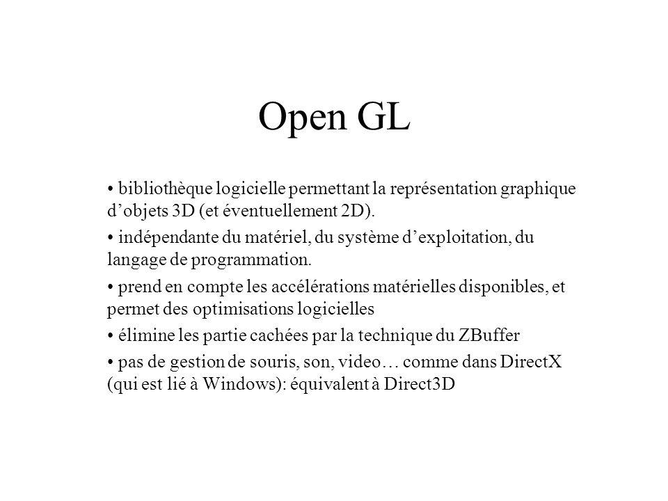 Open GL bibliothèque logicielle permettant la représentation graphique dobjets 3D (et éventuellement 2D). indépendante du matériel, du système dexploi