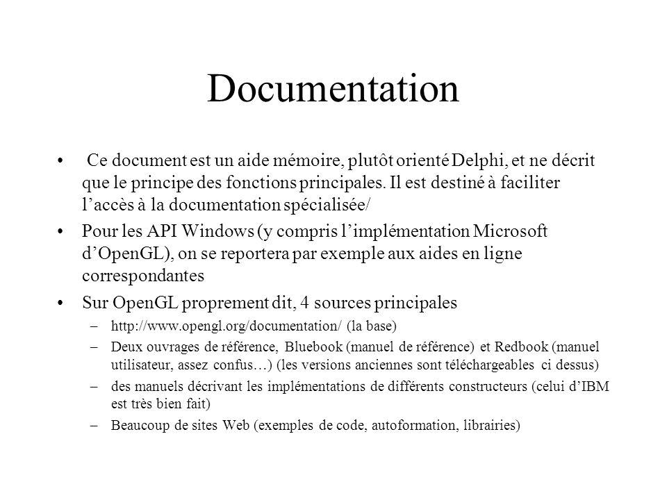 4 niveaux Initialisation (dépend du système d exploitation) : création de la fenêtre et description des fonctionnalités –wgl…..