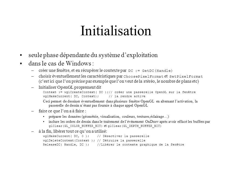 Initialisation seule phase dépendante du système dexploitation dans le cas de Windows : –créer une fenêtre, et en récupérer le contexte par DC := GetD