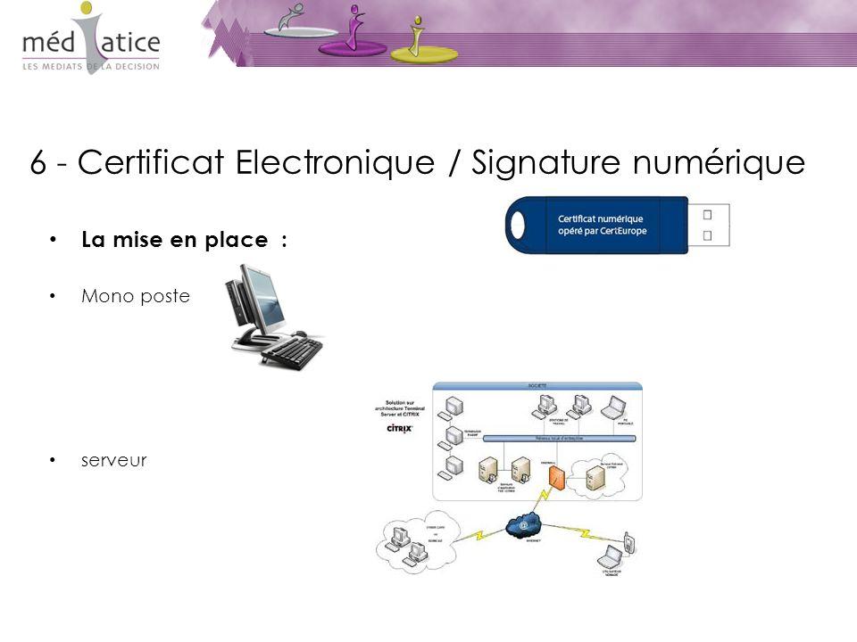6 - Certificat Electronique / Signature numérique La mise en place : Mono poste serveur
