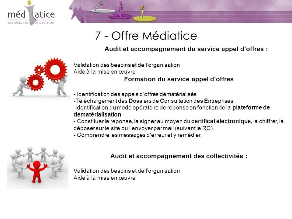 7 - Offre Médiatice Audit et accompagnement du service appel doffres : Validation des besoins et de lorganisation Aide à la mise en œuvre Formation du service appel doffres - Identification des appels doffres dématérialisés -Téléchargement des Dossiers de Consultation des Entreprises -Identification du mode opératoire de réponse en fonction de la plateforme de dématérialisation - Constituer la réponse, la signer au moyen du certificat électronique, la chiffrer, la déposer sur le site ou l envoyer par mail (suivant le RC).