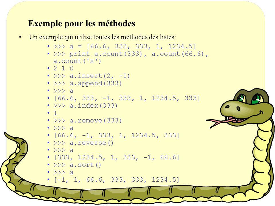 Les méthodes: suite sort() –Trie les éléments à l intérieur de la liste.