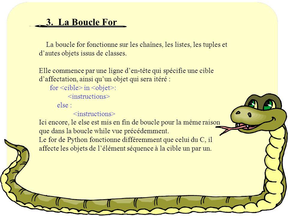 Exemple : y=0 While y<6: if y==4: break else: print « Dans la boucle while, y vaut : », y y=y+1 else: print « dans le else y vaut : », y