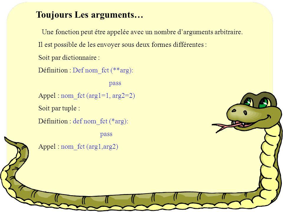 2. Les arguments… La forme générale pour passer des arguments est nom_fct(arg1,arg2,…,argn) Il est possible de définir des paramètres par défaut pour