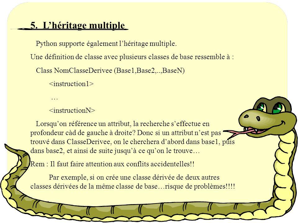 4. Lhéritage La syntaxe pour définir une classe dérive est la suivante : Class Nomclassedérivée (NomClassedeBase): … Rem : A la place de dun nom de cl