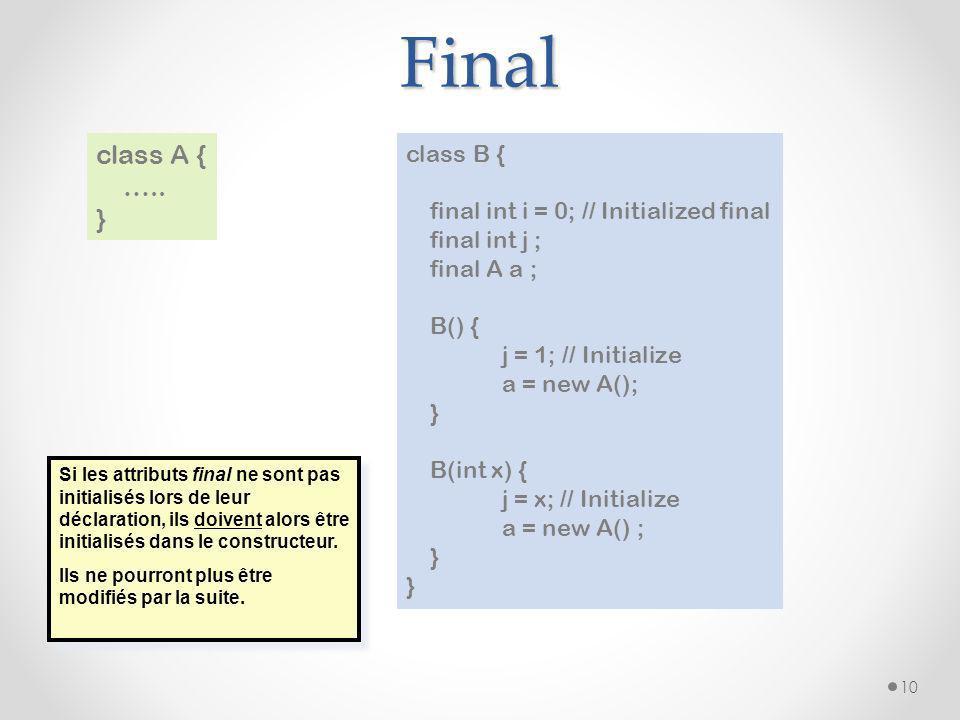 Final 10 class A { ….. } class B { final int i = 0; // Initialized final final int j ; final A a ; B() { j = 1; // Initialize a = new A(); } B(int x)