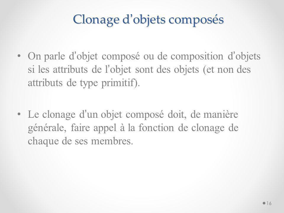 Clonage d objets composés On parle d objet composé ou de composition d objets si les attributs de l objet sont des objets (et non des attributs de typ