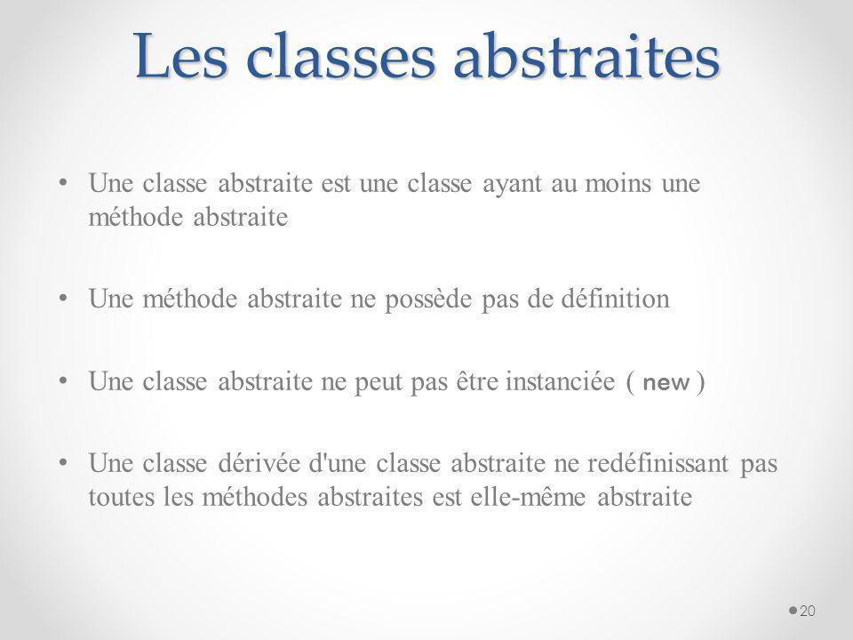 Les classes abstraites Une classe abstraite est une classe ayant au moins une méthode abstraite Une méthode abstraite ne possède pas de définition Une