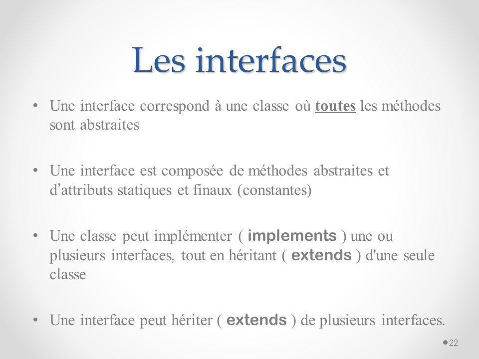 Les interfaces Une interface correspond à une classe où toutes les méthodes sont abstraites Une interface est composée de méthodes abstraites et d att