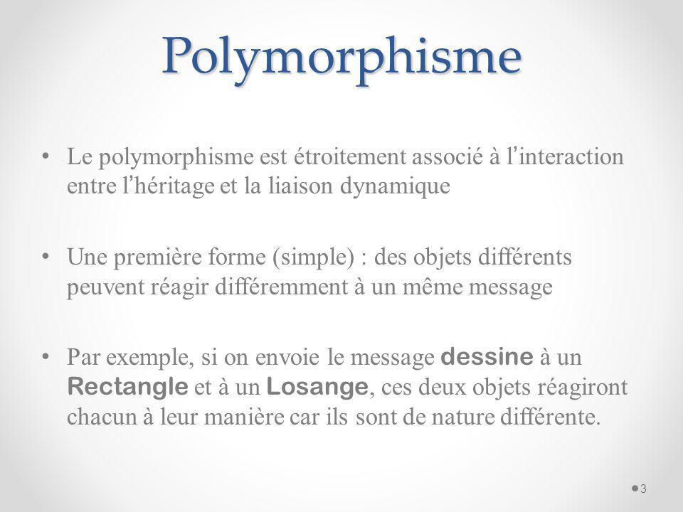Polymorphisme Le polymorphisme est étroitement associé à l interaction entre l héritage et la liaison dynamique Une première forme (simple) : des obje