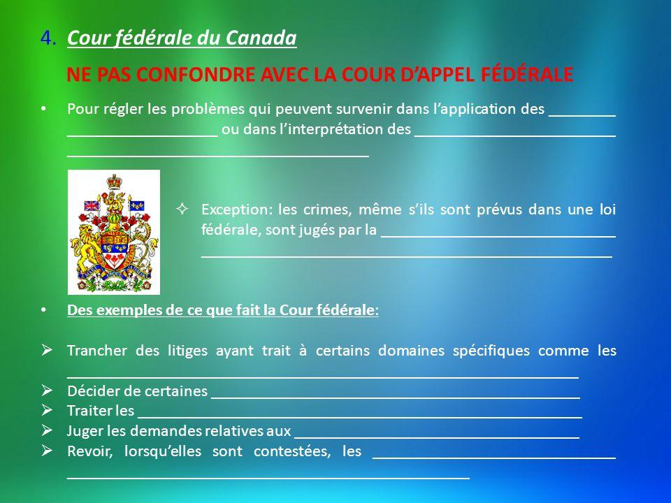 Au Québec, elle est présente dans la ville de Québec et Montréal Elle a ses propres locaux, par contre, un juge de la Cour fédérale pourrait siéger en région si un dossier lexigeait.