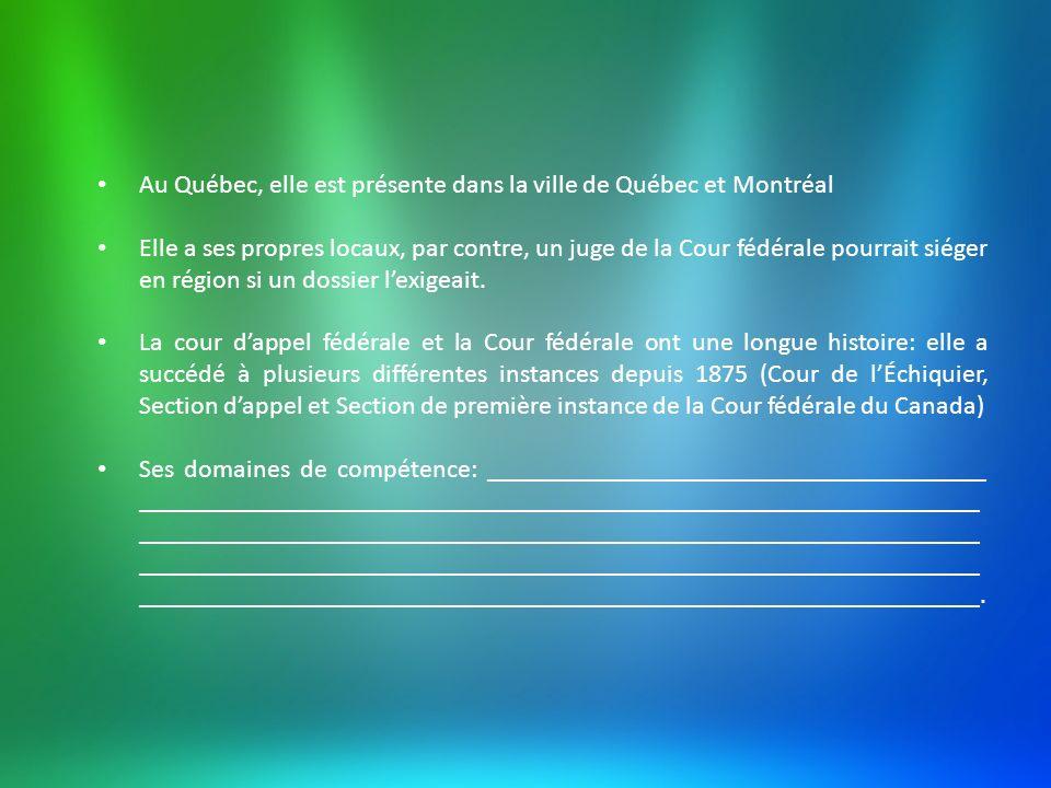Au Québec, elle est présente dans la ville de Québec et Montréal Elle a ses propres locaux, par contre, un juge de la Cour fédérale pourrait siéger en