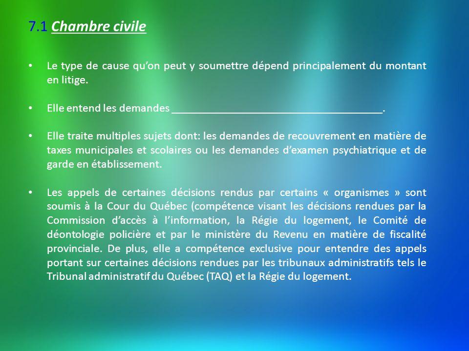 7.2 Division des petites créances Tribunal aux règles de _____________________________________.