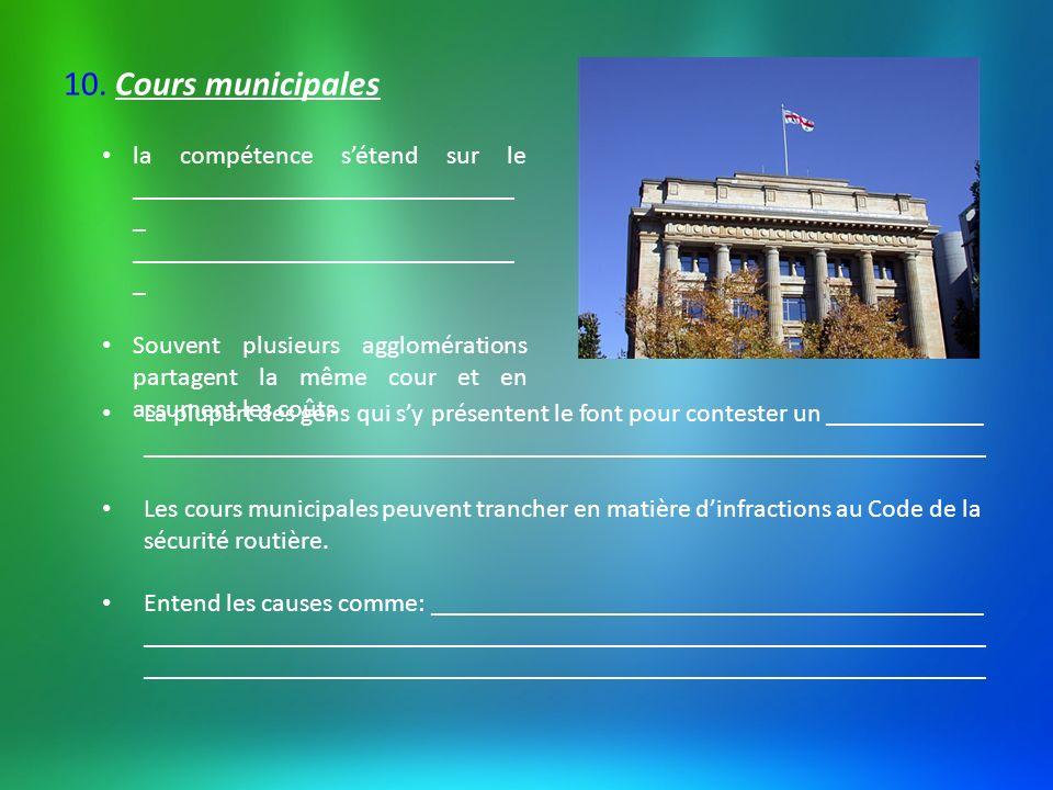 Certaines cours municipales (dont celles de Montréal et Québec) entendent aussi des affaires criminelles et des infractions aux lois fédérales.