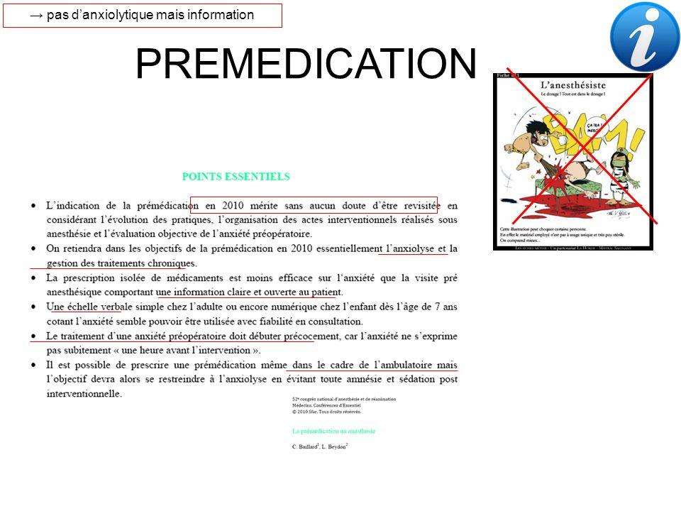 III. PREMEDICATION Nouvelles tendances PREMEDICATION pas danxiolytique mais information