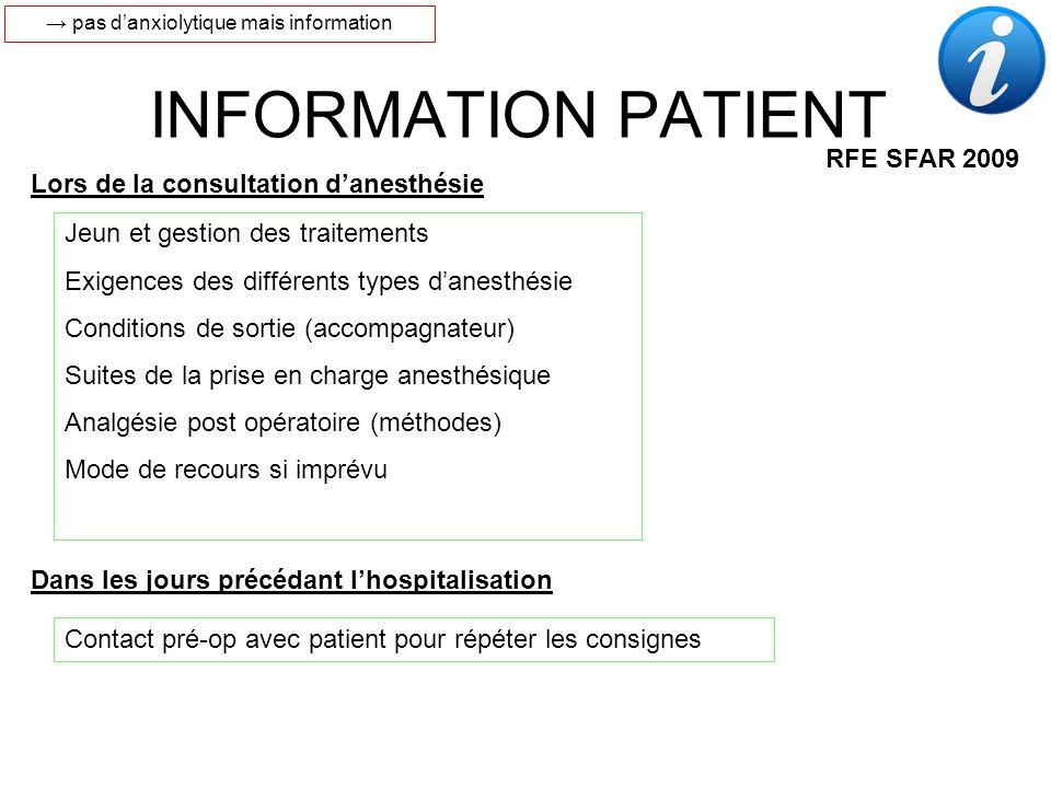 INFORMATION PATIENT RFE SFAR 2009 Jeun et gestion des traitements Exigences des différents types danesthésie Conditions de sortie (accompagnateur) Sui