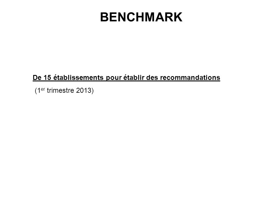 BENCHMARK De 15 établissements pour établir des recommandations (1 er trimestre 2013)