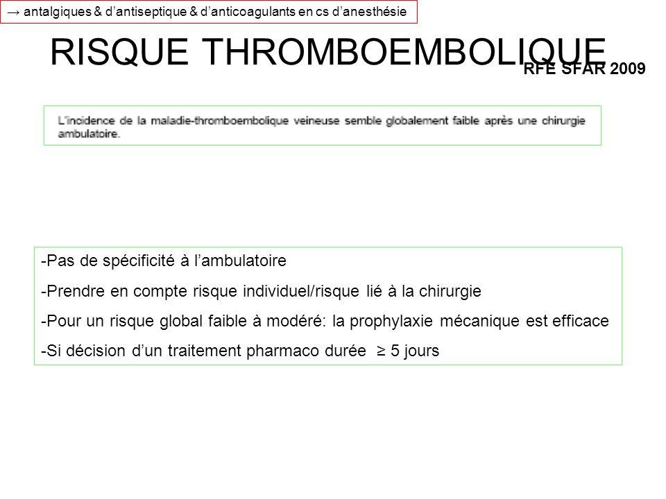RISQUE THROMBOEMBOLIQUE RFE SFAR 2009 -Pas de spécificité à lambulatoire -Prendre en compte risque individuel/risque lié à la chirurgie -Pour un risqu