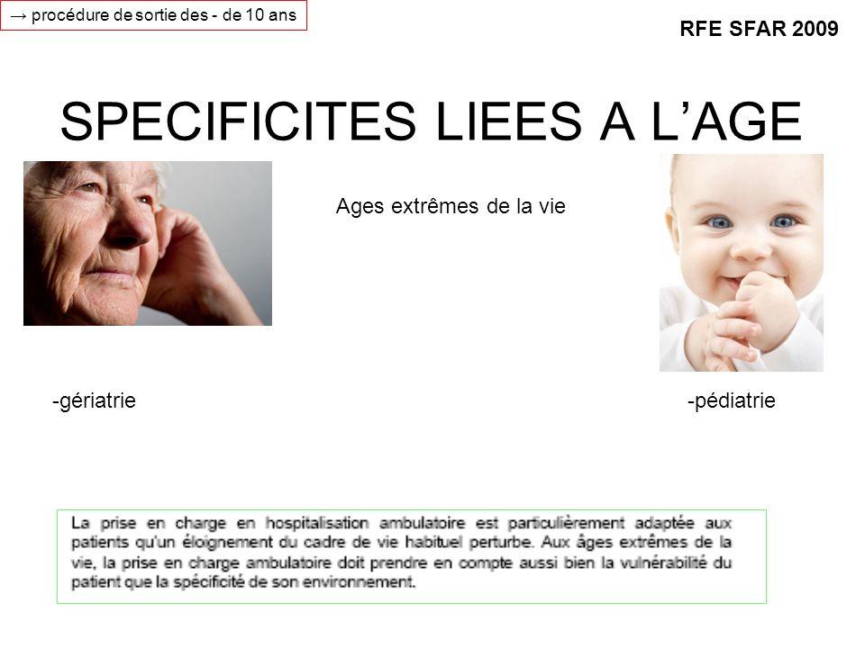 SPECIFICITES LIEES A LAGE RFE SFAR 2009 Ages extrêmes de la vie -gériatrie -pédiatrie procédure de sortie des - de 10 ans